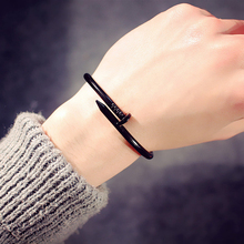 Simple Titanium Steel Nails Bracelet 2019 Stainless Steel Silver Gold Bracelets Bangles Punk For Women Men Best Gift Jewelry New new arrival spring wire line colorful titanium steel bracelet stretch stainless steel cable bangles for women