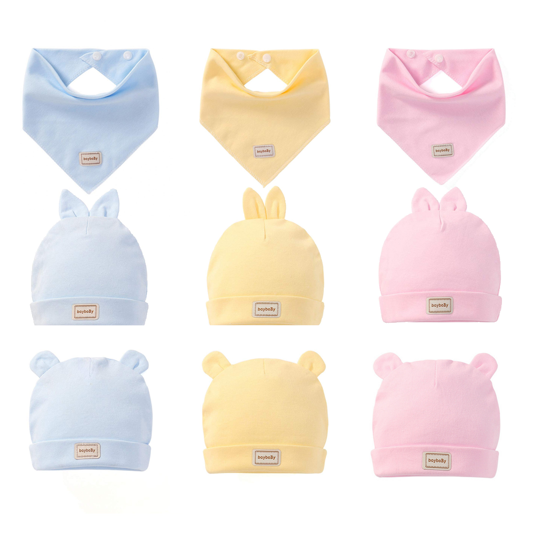 Newborn Infant Elastic Headscarf Double Layer Cotton Baby Caps Hats With Baby Bibs Set Pink Yellow And Sky Blue in Hats Caps from Mother Kids