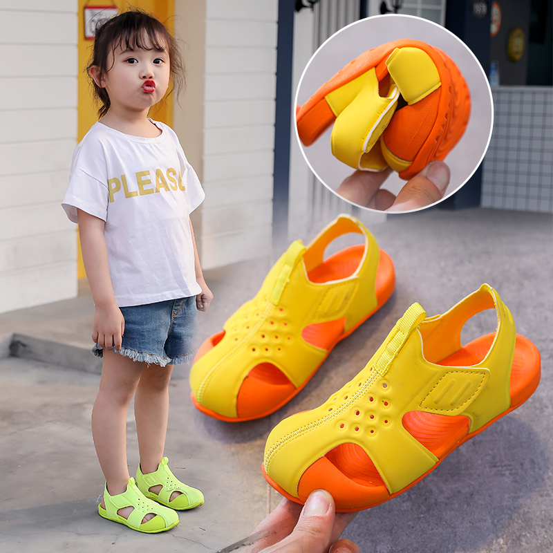 Kids Colorful Sandals 2020 New Korean Summer Boys Shoes Children Girls Solid Pu Comfortable Rubber Sandals Baby Toddler Shoes