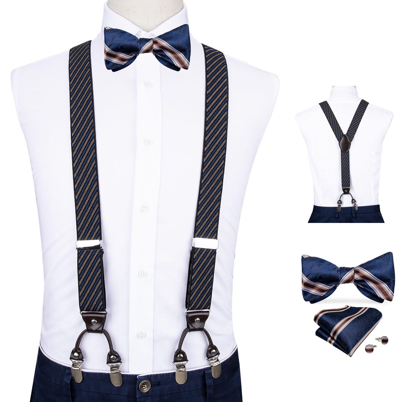 Men Navy Striped Elastic Suspender Genuine Leather 6 Clips Brace Male Vintage Wedding Party Bow Tie Hanky Cufflinks Set DiBanGu