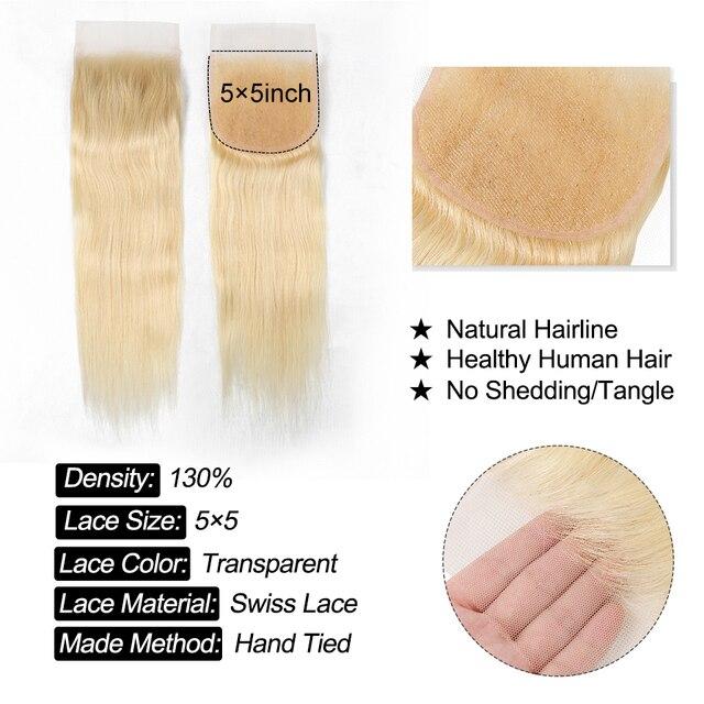 YYong 50 г 5/6 Лот 613 пряди с 5x5 закрытыми Remy человеческие волосы медовый блонд 613 бразильские прямые кружева с пряди