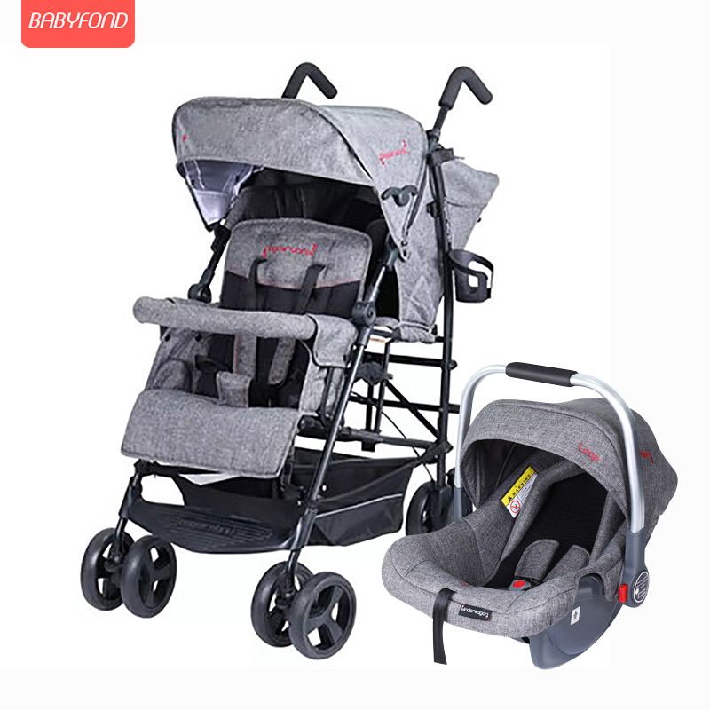 2020 twin stroller multi-function double large child baby stroller kinderwagon lightweight folding can sit and lie with car seat