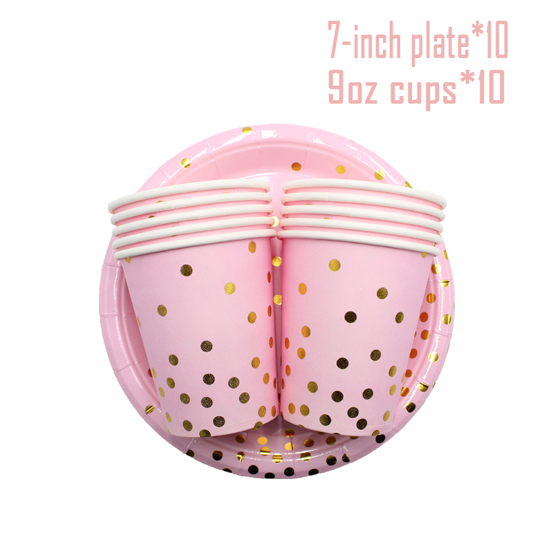 10pcs Gold Dot Pink Disposable Tableware Wedding Baby Shower Cups Straws Napkins Plates For 18th 1st Birthday Decor Kids Girls