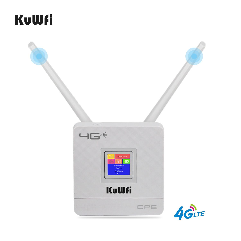 KuWfi 4G Sim Card Wifi Router CAT4 150Mbps Wireless CPE Router 4G LTE FDD/TDD Unlock Router With External Antennas WAN/LAN RJ45 6
