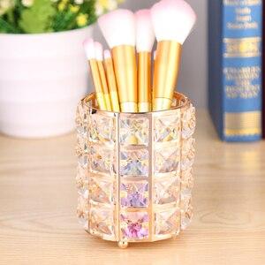 Crystal Makeup Organizer Metal Storage Box European style Eyebrow Pencil Lipstick Holder Makeup Brush Holder Cosmetic Organizer