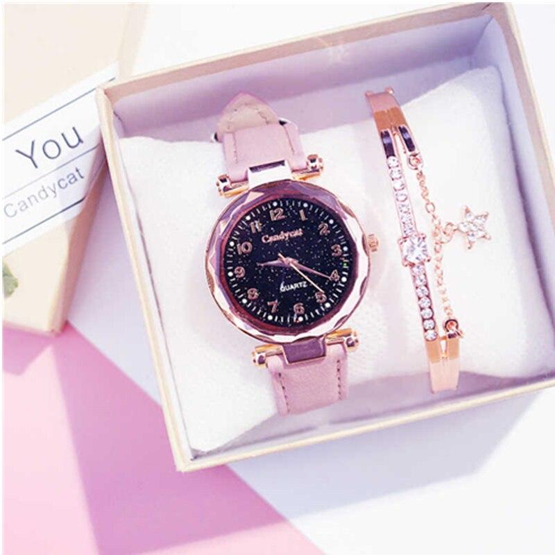 Fashion Starry Sky Bracelet Watches Casual Women Watches Bracelets set Leather Analog Quartz Wristwatches Clock relogio feminino