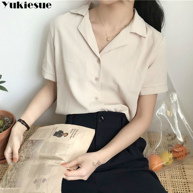 Casual Solid Female Shirts Outwear Tops 2020 summer short sleeve  Women Chiffon Blouse Office Lady V-neck Button Loose Clothing 1