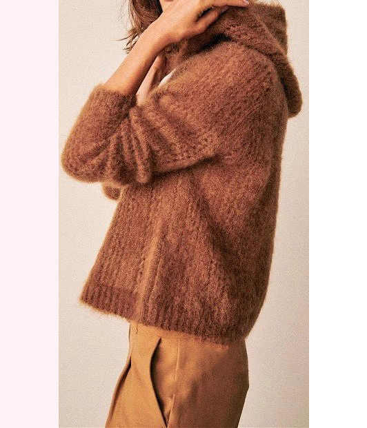Mohair Caramel/สีฟ้า/สีชมพูถัก Hollow OUT เสื้อกันหนาว Hooded-สุภาพสตรีถัก Hooded Pullover TOP