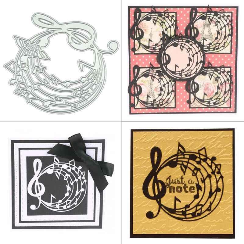 Musique cercle bricolage métal matrices de découpe pochoir Scrapbooking Album timbre papier carte Art artisanat décor M68E