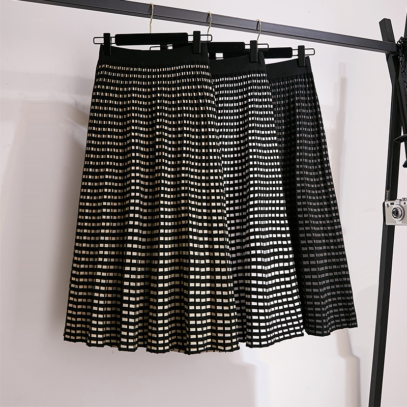 Skirts Womens Knitted Wool Skirts High Waist Stretched Plaid Long Skirts A Line Patchwork Midi Skirts