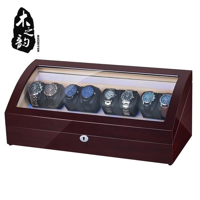 16 Automatic Watch Winder Box PU Leather Watch Winding Winder Storage Watch Box Collection Display Japanese Motor LED Light