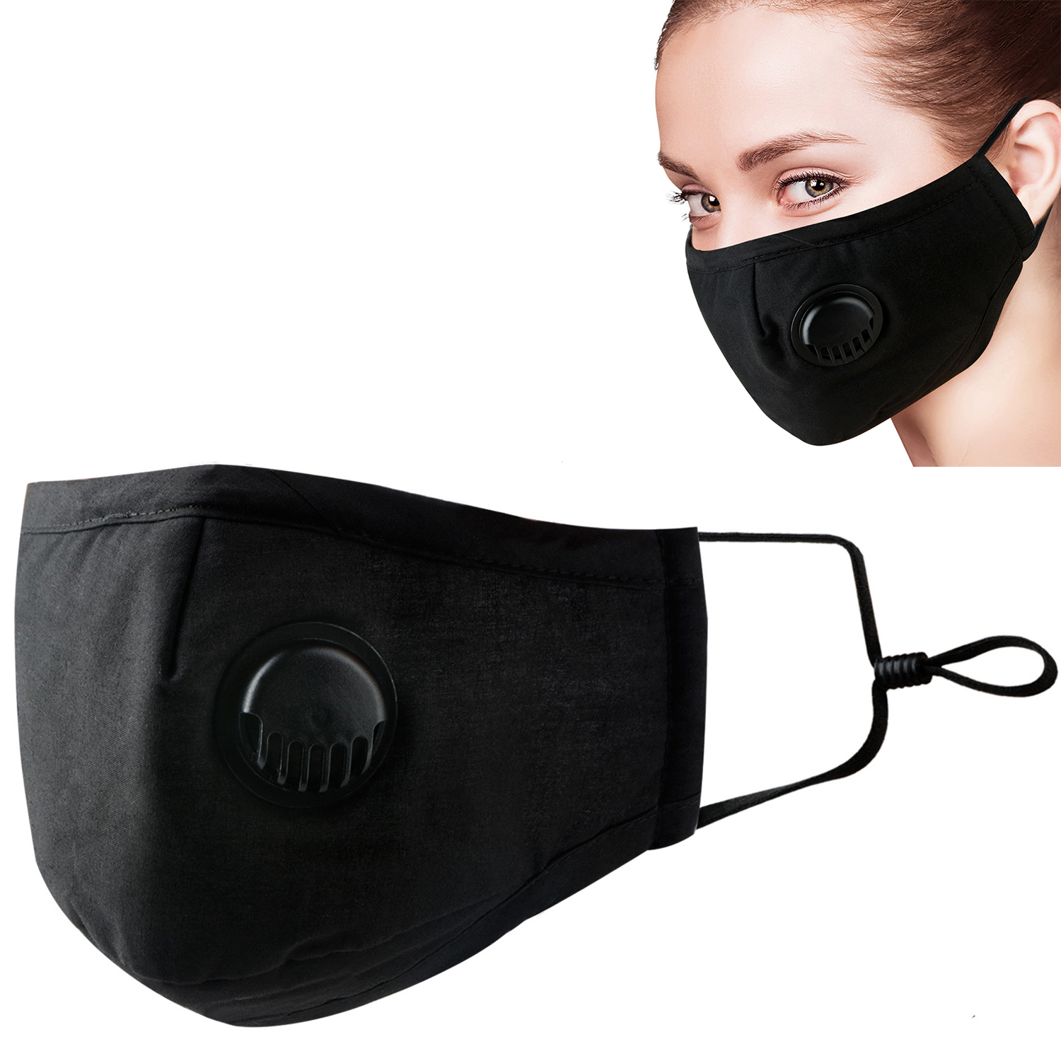 1pc/10pcs Face Mask Dust Masks Insert Black Breathable Valve  Mask PM2.5 Activated Carbon Filter Mouth Cover