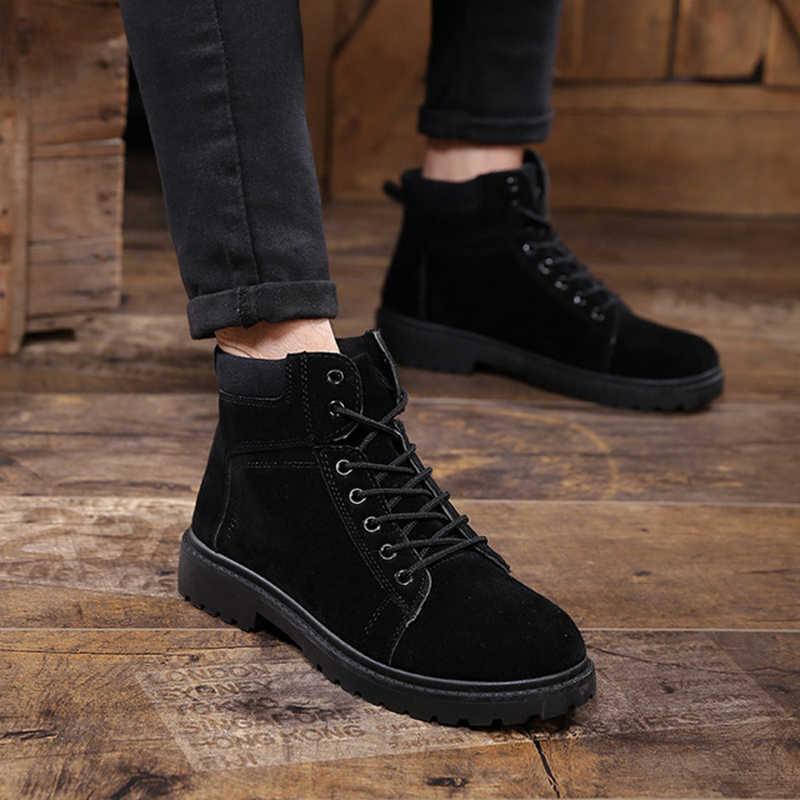 Puimentiua erkek botları kış botları İngiliz eğilim erkek çizmeler Retro çizmeler gelgit takım ayakkabı moda erkek kar ayakkabı çalışma
