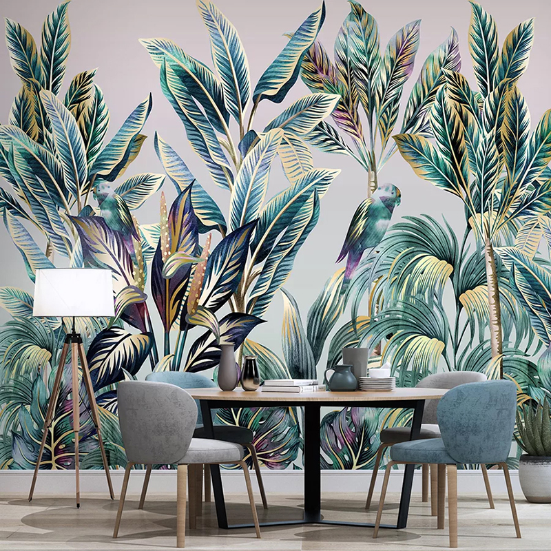 Custom Mural Wallpaper For Bedroom Walls 3D Hand Painted Coconut Tree Banana Leaf Bird Photo Wall Papers Home Decor Living Room