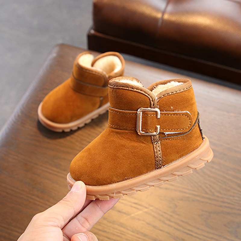 Kids Baby Boots Toddler Snow Boots Shoes Winter Warm Boys Girls Snow Boots Shoes Fashion Flat With Plush Children's Shoes