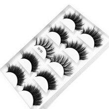 Mink-Eyelashes Make-Up Multipack Fluffy Natural-Eye Handmade 5-Pairs 3d