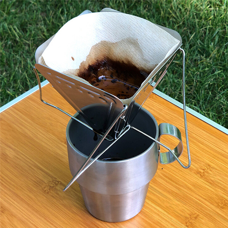 2020 New Stainless Steel Coffee Filter Outdoor Camping Folding Portable Coffee Drip Rack Foldable Coffee Dripper