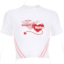 Muses White Knitted T Shirts Woman Short Tops Sugar Spice Embroidery Loving Heart Top Tee Summer Sleeve O-neck T-shirt