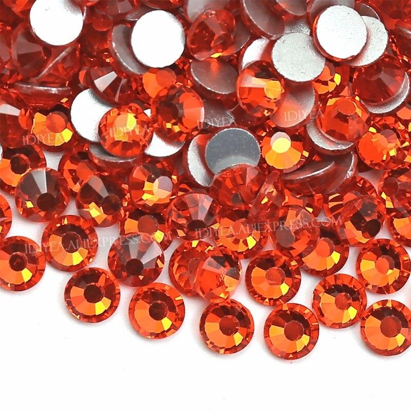 Оранжевые стразы SS3 SS4 SS5 SS6 SS10 SS20 SS30 для нейл-арта с плоским основанием блестящие украшения для творчества без горячей фиксации