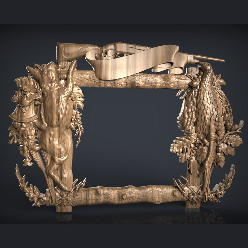 Hunting Frame 3d Relief STL Format Model Used For Cnc Artcam Router Engraving Carving Design File
