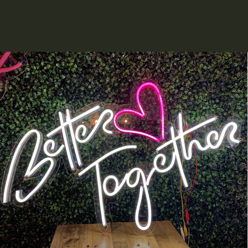 Custom Led Neon Wedding Sign For Better Heart Together Wall Lights Party Shop Window Restaurant Birthday Decoration