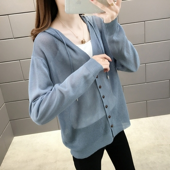 Room 156984, row 2, No.2] take a real photo of the new pure color ice hemp hooded sun proof shirt 34 2