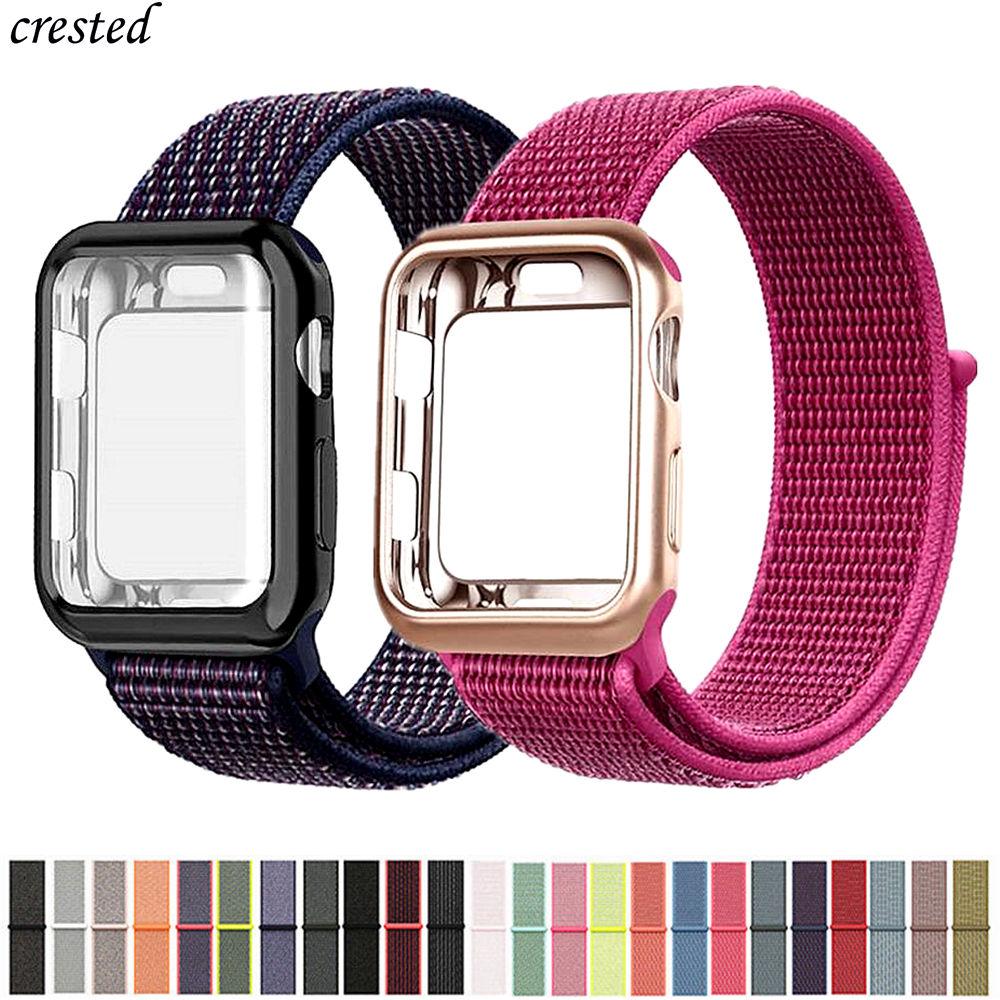 Sport Loop Strap+case For Apple Watch 5 Band 44mm 40mm IWatch Band 42mm 38mm Screen Protector Cover+bracelet Apple Watch 3 4 2 1