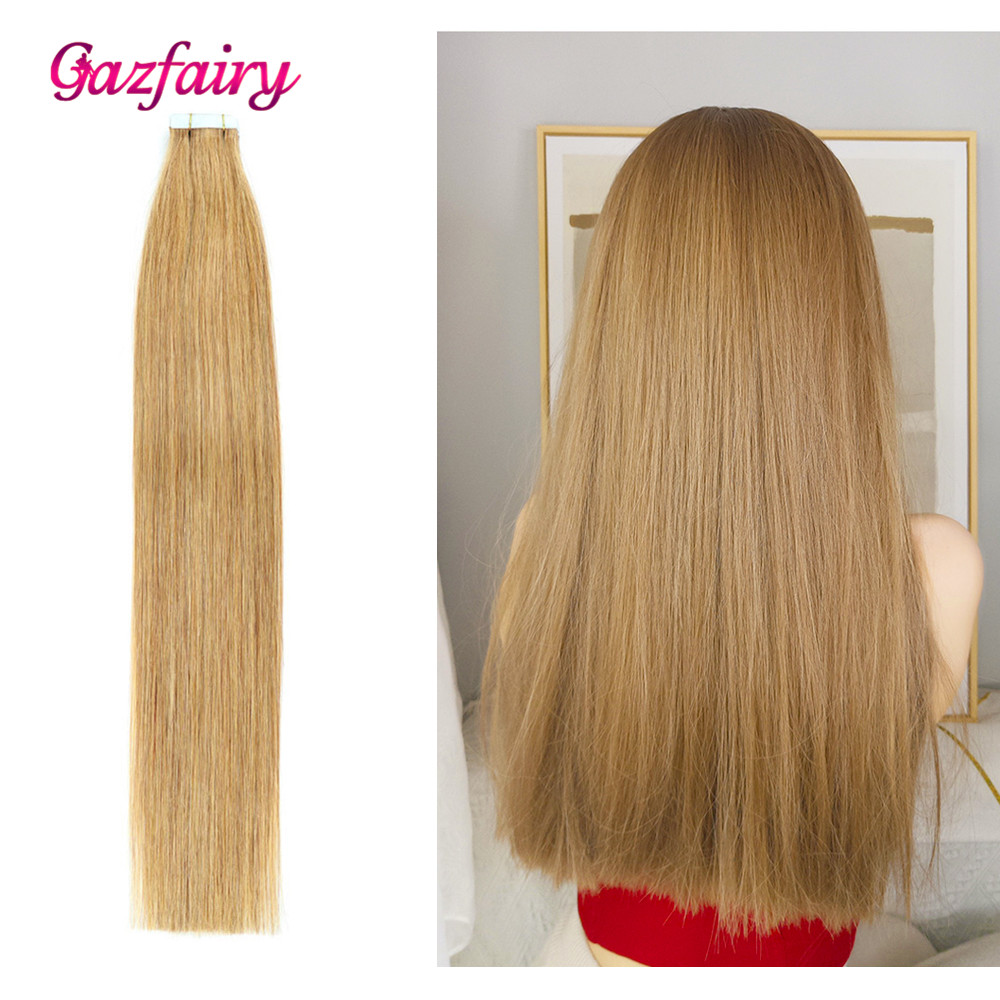 """Gazfairy Mini Tape In Remy Human Hair Extension 16""""-24"""" 10/20pcs Straight Skin Weft Double Drawn Natural Hair Invisible Tape Ins"""