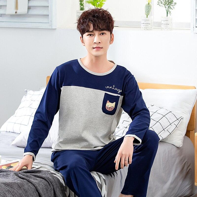 Pyjamas Winter Sleepwear Lounge Cotton Men's Casual Autumn 3XL Patchwork Plus-Size