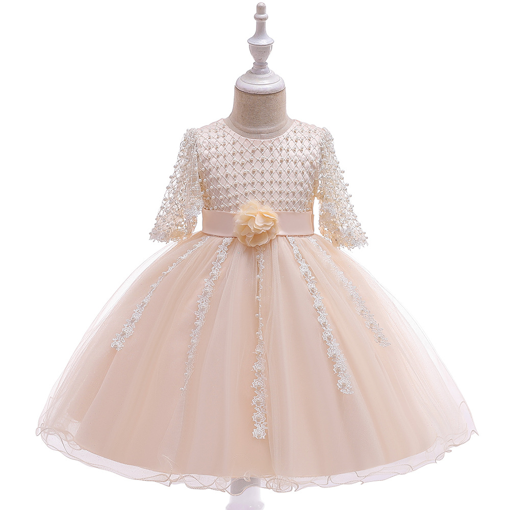 2019 CHILDREN'S Dress Women's Princess Skirt Performance Wear Bow Long Sleeve Gauze Tutu Girls Evening Dress