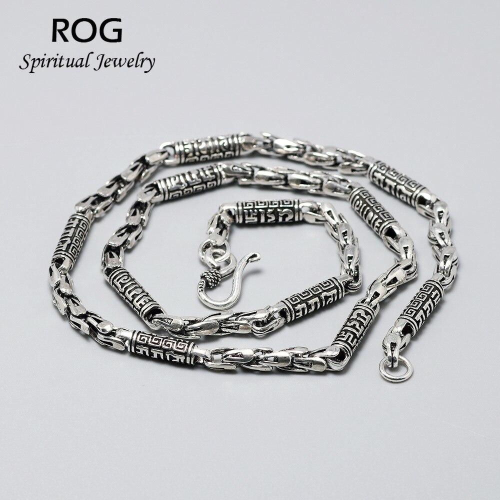 925 collier en argent Sterling Mantra pour hommes gravé Six mots Sutra Thai argent 5mm collier chaîne pour hommes bijoux