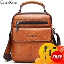Celinv Koilm Mens Crossbody Shoulder Bags Big Size Split Leather Handbag Fashion Business  Messenger Bag High quality Tote Hot