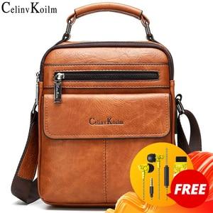 Image 1 - Celinv Koilm Mens Crossbody Shoulder Bags Big Size Split Leather Handbag Fashion Business  Messenger Bag High quality Tote Hot