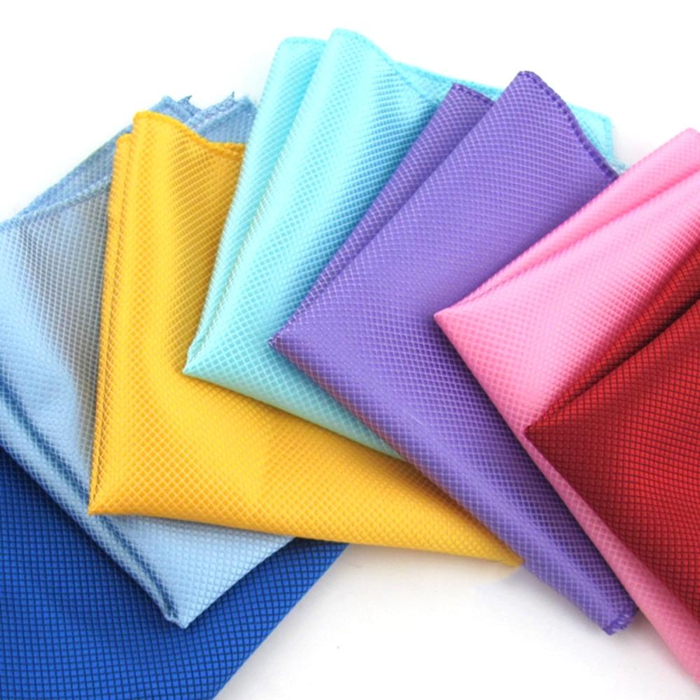 High Fashion Pocket Square Grid Handkerchief Men Accessories Polyester Hanky Solid Color Towel 22cm*22cm
