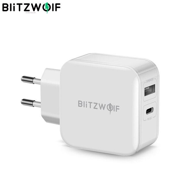BlitzWolf 30 واط Type C الهاتف PD شاحن QC3.0 + 2.4A المزدوج USB سريع شاحن الاتحاد الأوروبي التوصيل محول التيار الكهربائي آيفون 12 Mini Pro Max