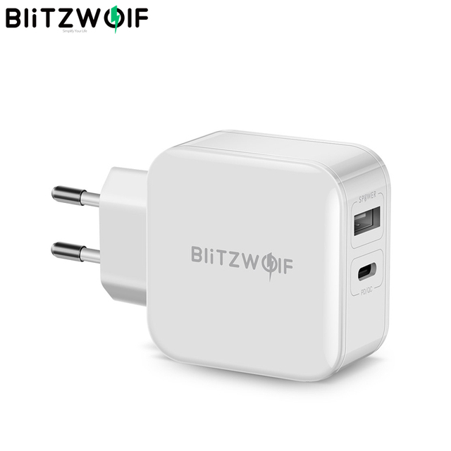 BlitzWolf 30W Type C Phone PD Charger QC3.0+2.4A Dual USB Fast Charger EU Plug Adapter Power Supply For iPhone 12 Mini Pro Max