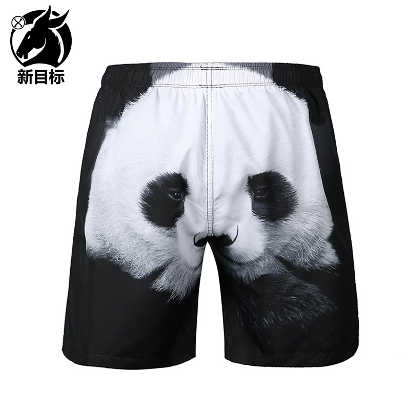 Summer New Style Popular Brand Swimwear Pants Panda 3D Printed Beach Shorts Casual Fashion MEN'S Middle Pants