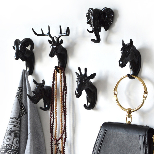 Hanger Keys Creative American Hanging Hook Holder Wall Home Strong Seamless Sticking Hook Decorative Hook Creative Animal Hooks 2
