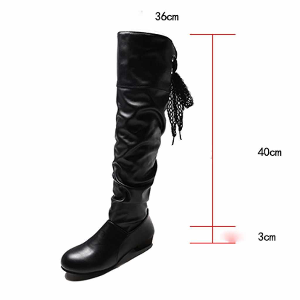 แพลตฟอร์มรองเท้าเข่าลูกไม้ Strappy รองเท้าแบนนักเรียนขนาดใหญ่สีดำรองเท้าผู้หญิง botines mujer 2019 # g3