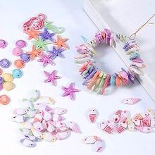 Lacoogh-abalorios de esmalte de estrella de mar, accesorios de joyería, conchas artesanales, 100 Uds.