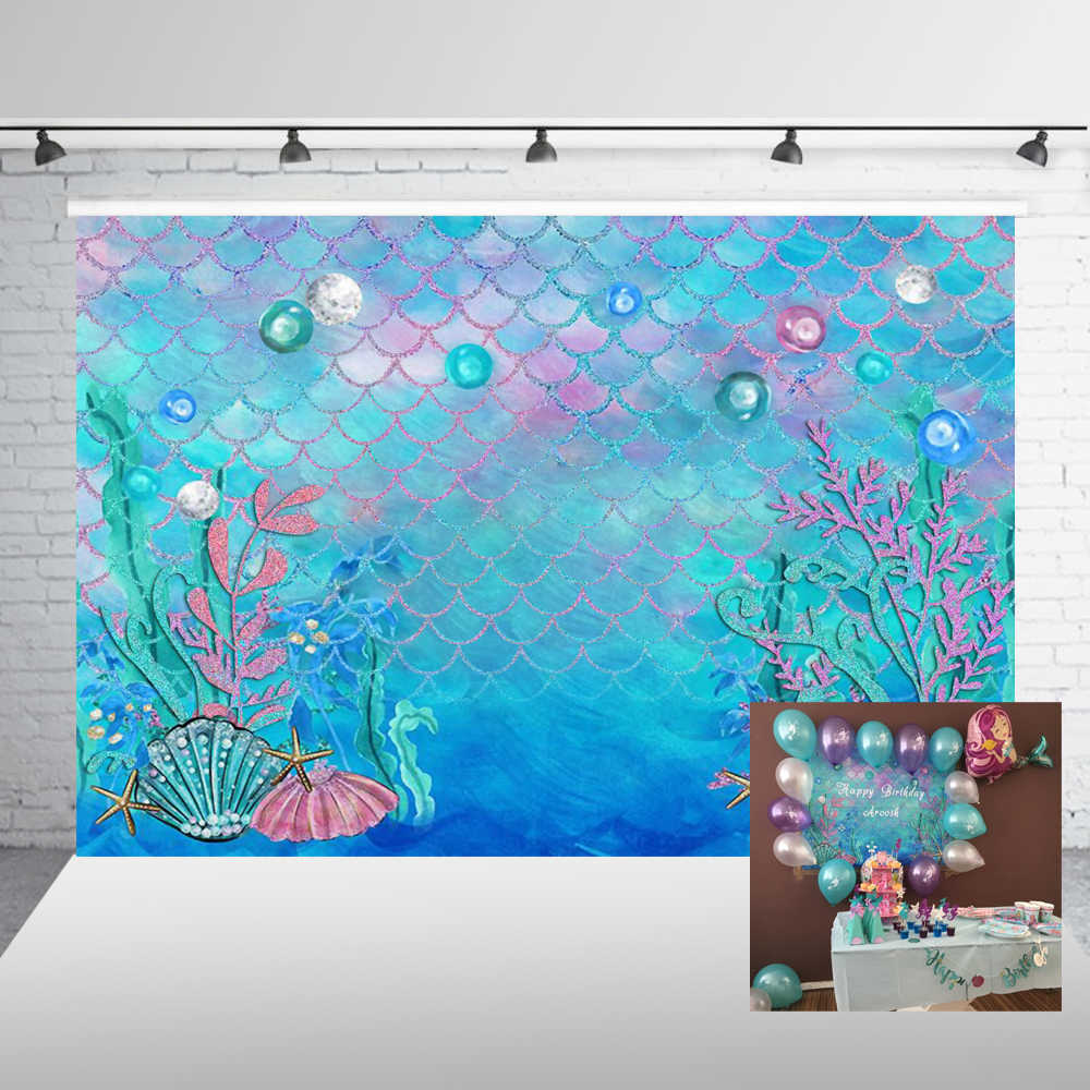 Photography Backdrop Mermaid Scales Glare Birthday Banner Photo Studio Booth Background Newborn Baby Shower Photocall W-597