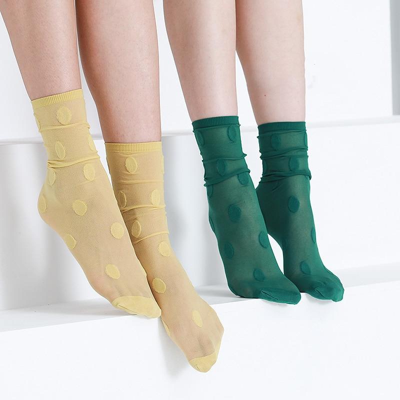 Woman Socks 2020 Spring New Fashion Color Long Socks Female Dots Thin Colorful Korean Style Sexy Transparent Socks Women Dots