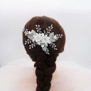 FORSEVEN mujeres boda Hairband hecho a mano de diamantes de imitación de plata peine del pelo del Color de pelo Clip de la joyería de novia accesorios para el cabello JL