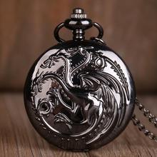 Reloj de bolsillo de cuarzo Retro Juego de tronos Vintage negro/bronce colgante collar reloj regalos reloj Fob