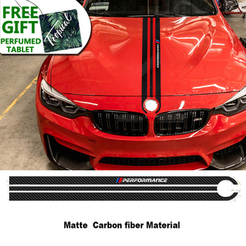 Carbon Fiber Car Hood Sticker M Performance Car Body Decal Styling For BMW M3 M5 M6 E46 E90 E60 E70 F30 F10 F15 F16 image