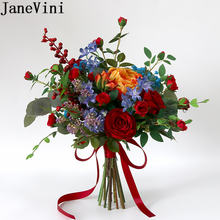 Janevini винтажные Искусственные Свадебные цветы красная роза