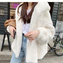 Coat Women Jacket Hooded Faux-Fur Long-Sleeve Winter Fashion New Casual Outwears Feminino