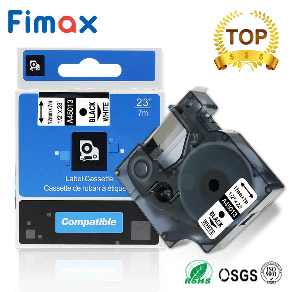 Fimax צבעים 45013 40913 43613 45803 40918 45010 תואם עבור Dymo 45013 12mm תווית קלטת עבור Dymo תווית יצרנית LM160 280 PNP