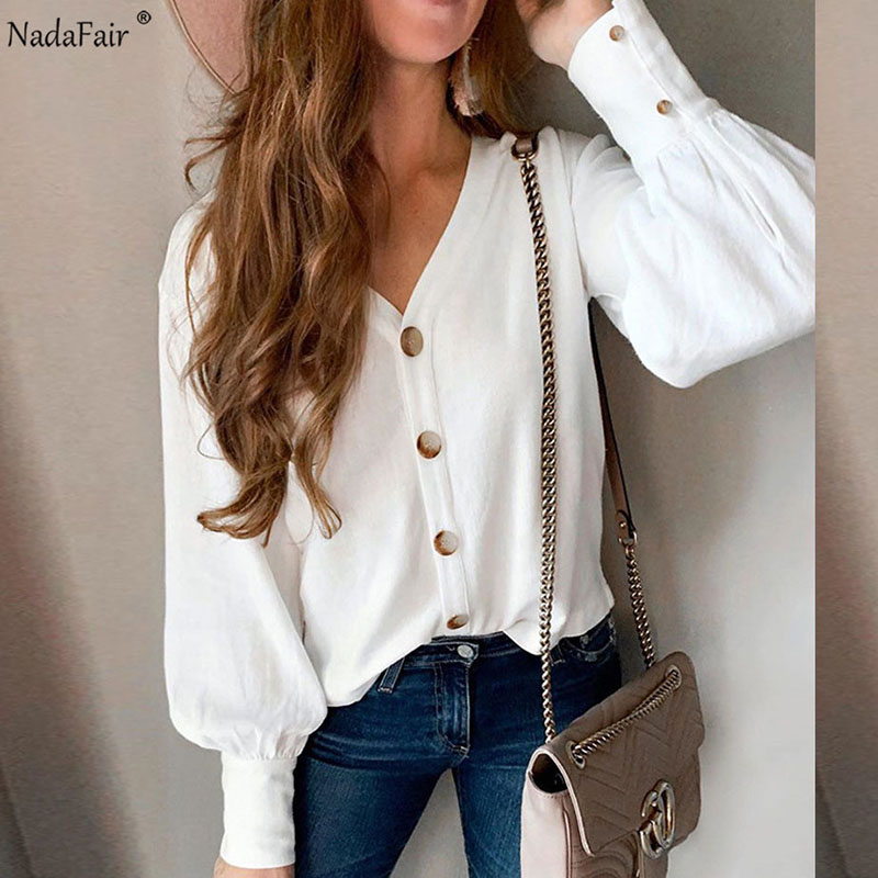 Nadafair V Neck White Shirt Casual Buttons Elegant Office Long Sleeve Blouse Women Tops Plus Size