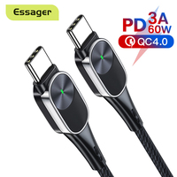 Essager-Cable USB tipo C para Xiaomi Mi 10, Samsung, USB-C de carga rápida de 60W, Cable de datos para MacBook